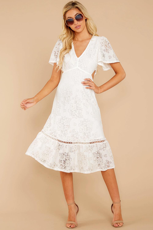 Charming White Lace Midi Short Sleeve Cutout Dress Dress 54 00 Red Dress White Lace Midi Dress Lace Midi Dress Cute White Dress [ 1500 x 1000 Pixel ]
