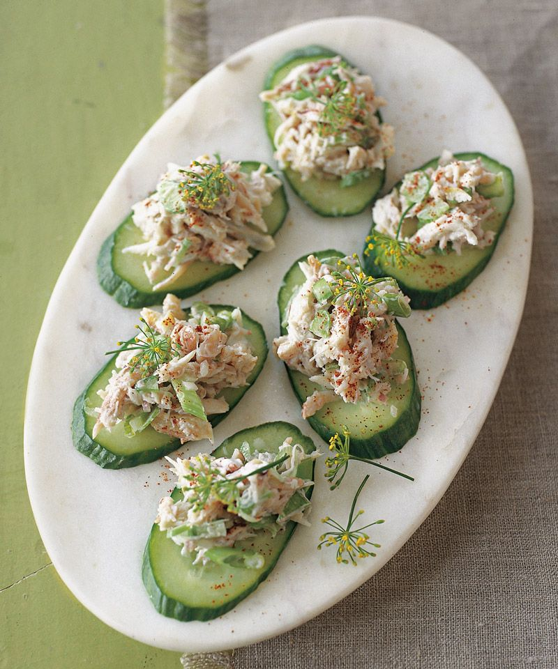 Crab And Cucumber Canap 233 S No Cook Appetizers Healthy Appetizers Food Recipes
