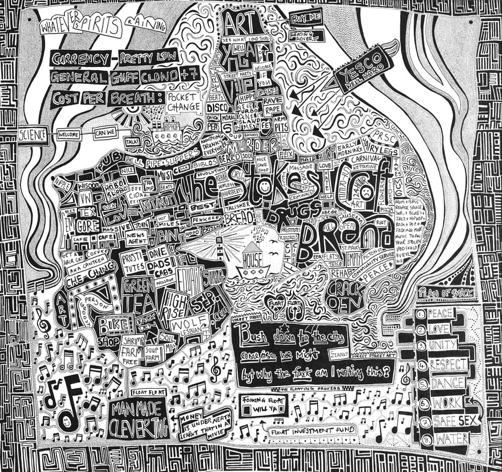 Hand drawn mindscape map of Stokes Croft BristolA collection of