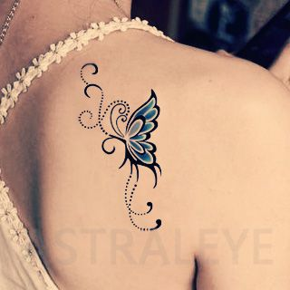 tattoos symbolizing strength and femininity tattoo stickers blue butterfly elegant red givlie. Black Bedroom Furniture Sets. Home Design Ideas