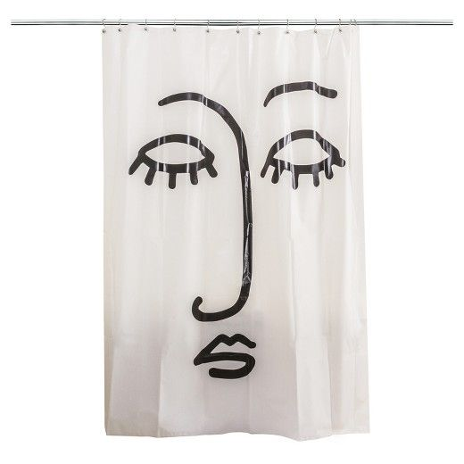 Face Shower Curtain Vinyl Shower Curtains Black White Rooms