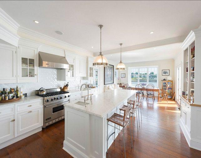 Kitchen Kitchen Design Ideas White Kitchen With White Marble - Pendants above island
