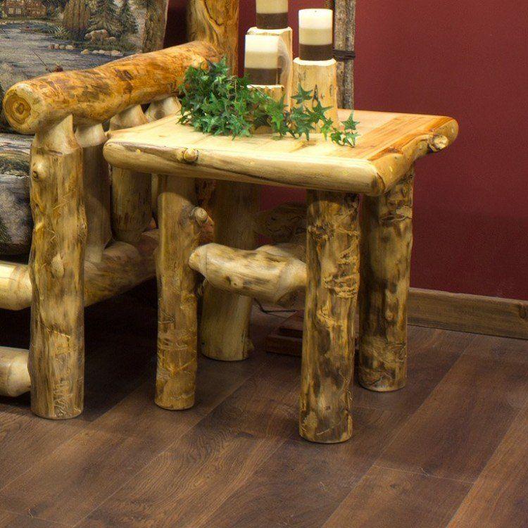 Yellowstone Rustic Aspen Log End Table Rustic Log Furniture Log End Tables Rustic Furniture