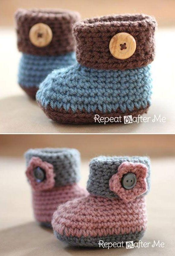 Crochet Cuffed Baby Booties Free Pattern Crochet Pinterest