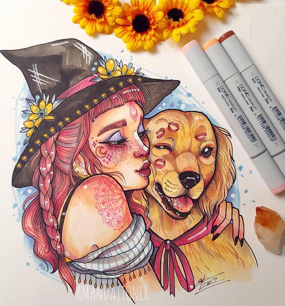 Witch And Dog By Amandajtoner Art Art Painting Art Drawings