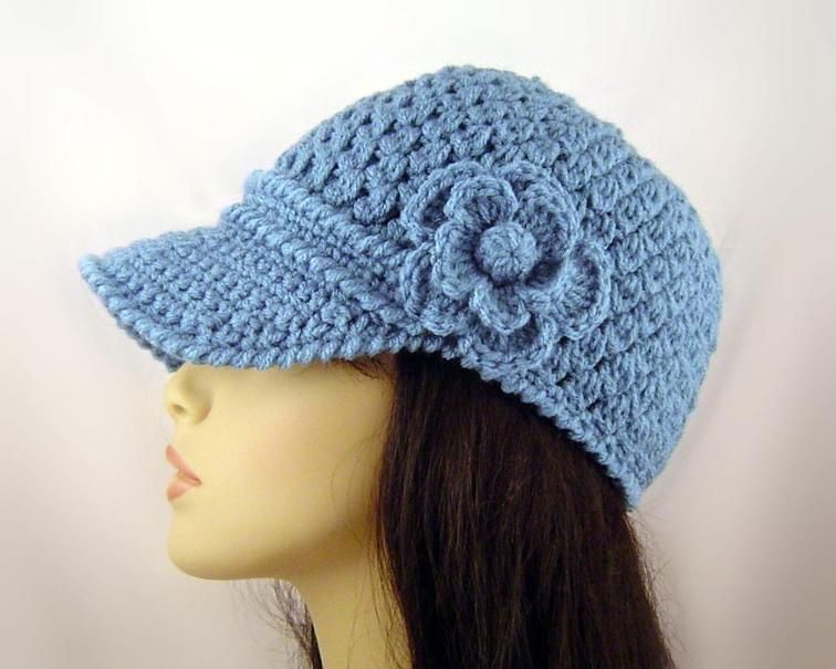 Crochet Baseball Cap with Flower | Craftsy | projects | Pinterest