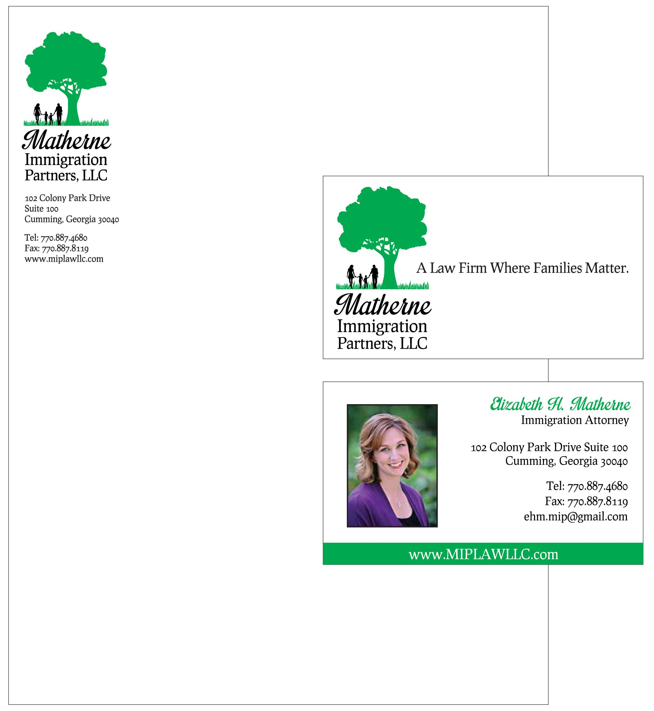 letterhead and business card designed for an atlanta immigration