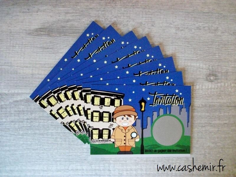 anniversaire gar on enfant cartes d 39 invitation par lot de 8 cartes gratter detective jeux. Black Bedroom Furniture Sets. Home Design Ideas