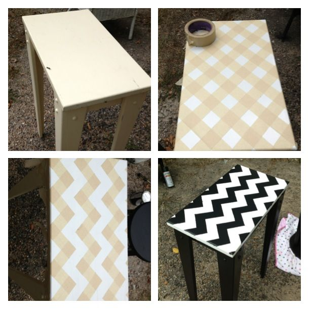 Diy New Paint Table Chevron Black And White Top Add Masking Tape In Criss Cross Mark Zig Zag U Want To Stay