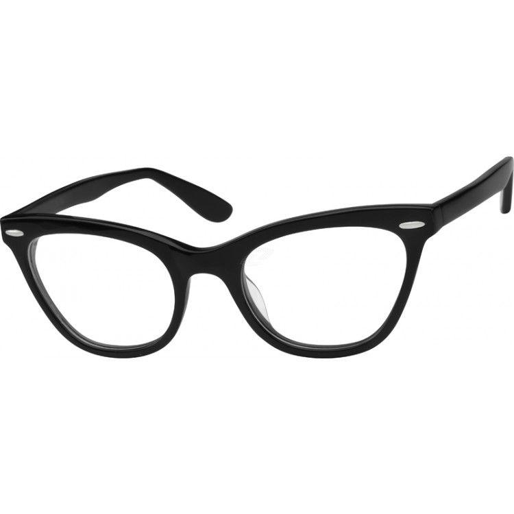 Zenni Womens Cat-Eye Prescription Eyeglasses Black Plastic 487621