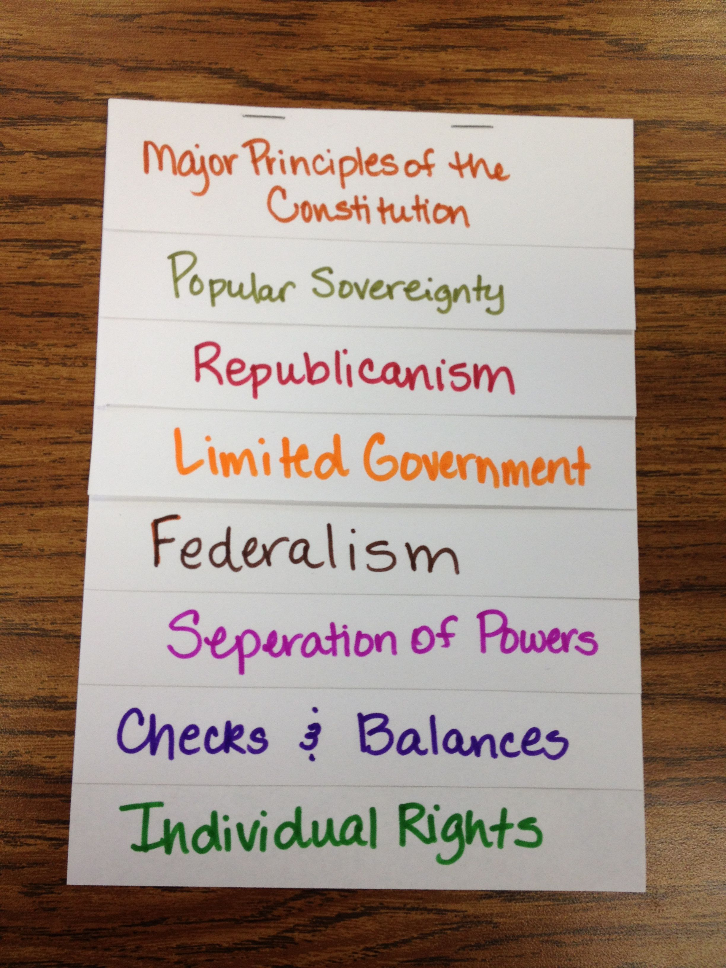 Major Principles of the Constitution - Layer book for note taking ...