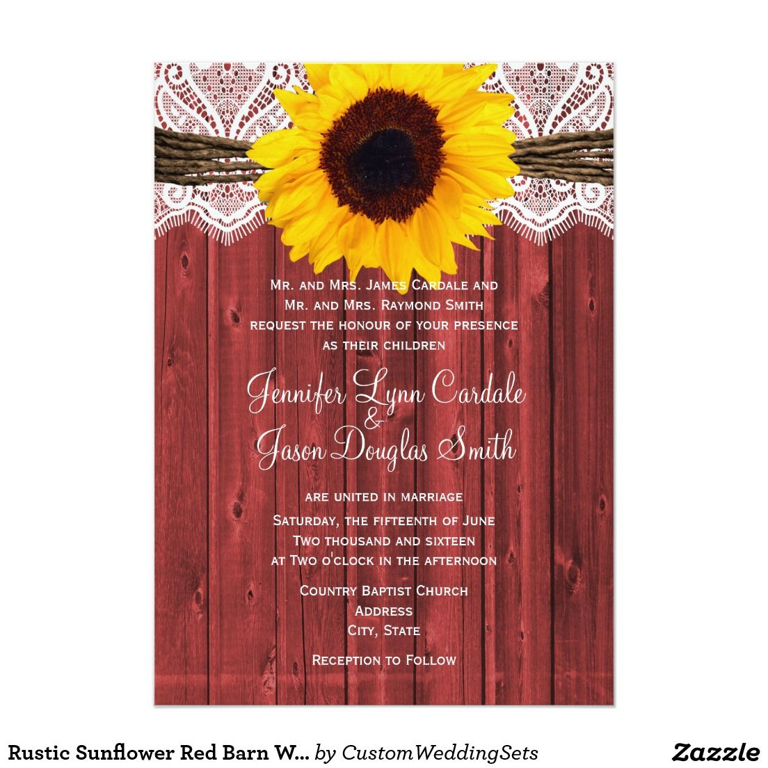 Rustic Sunflower Red Barn Wood Wedding Invites 5\