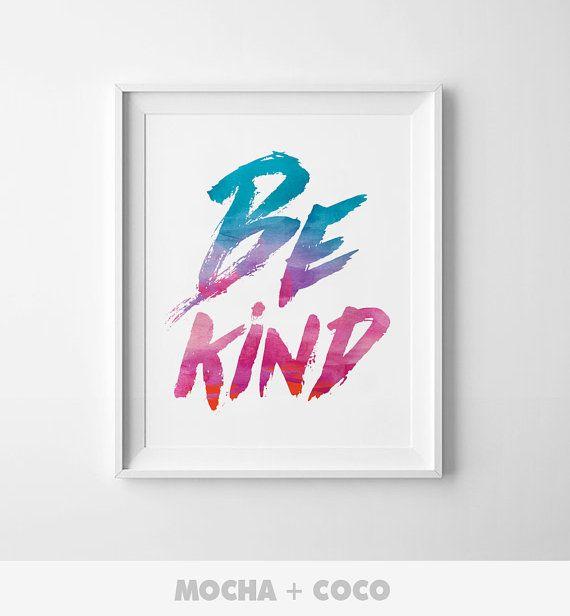 Be Kind Kids Poster Modern Wall Art Cute by MochaAndCoco on Etsy