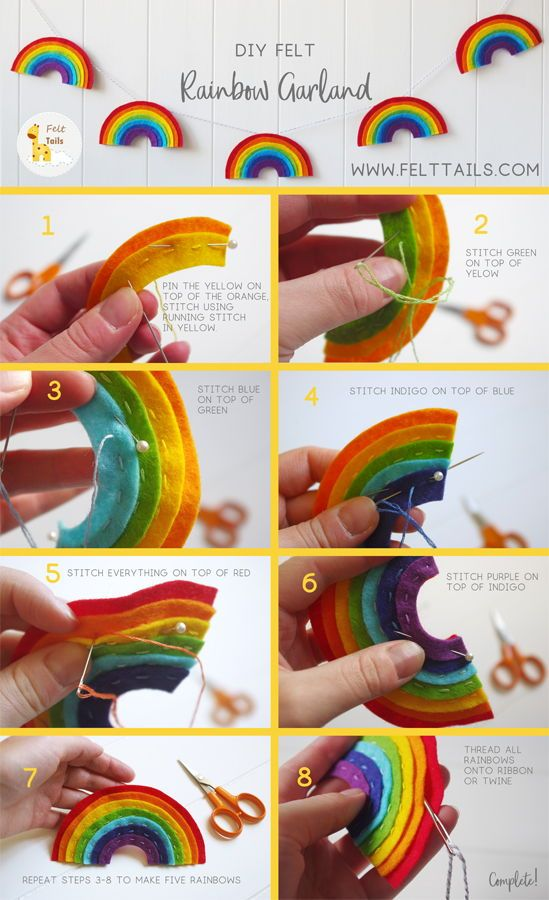 Learn how to make this easy rainbow garland yourself. This sewing tutorial will help you create colourful decor, beautiful to hang in a gender neutral baby's nursery or add a splash of to a kids bedroom. Make it yourself to give as a gift, or its the perfect gift idea for a friend who loves to sew.  #FeltTails #felt #crafts #sewingtutorials #feltsvg #diy #rainbow #homedecor #nurserydecor #diycraft #rainbowcraft #easycraft #sewing #sewingkit #craftforkids #craftideas #rainbowdecor