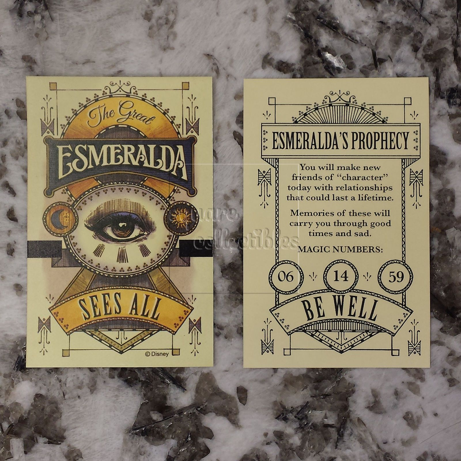 Disneyland 60th Esmeralda Fortune Card Set Main Street USA Disney