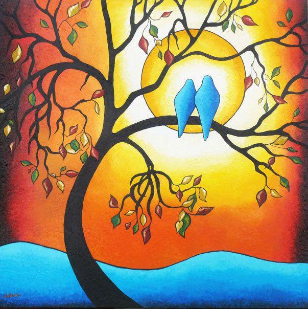 Tree of Life Wall Art Love Birds Art Print Autumn Decor Abstract ...