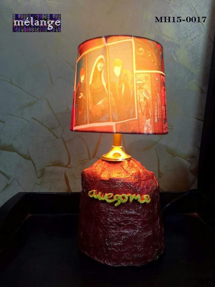 "Bestie Lamp This one has a story.I made this for my best friend keeping with his obsession with ""awesomeness"". The base is paper mache with word made from clay.The lamp shade is digital printed cloth."