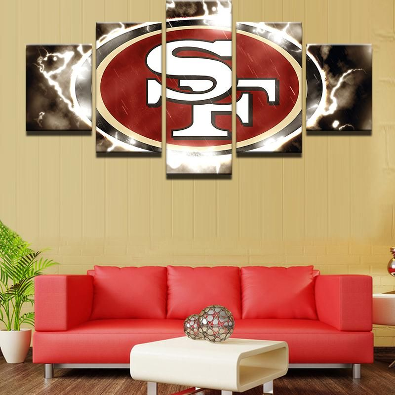 San Francisco 49ers NFL Football 5 Panel Canvas Wall Art Home Decor ...