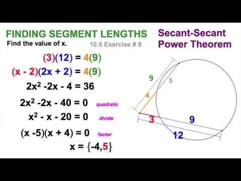 Secant Secant And Secant Tangent Power Theorems 10 6b Theorems Quadratics Free Math Worksheets