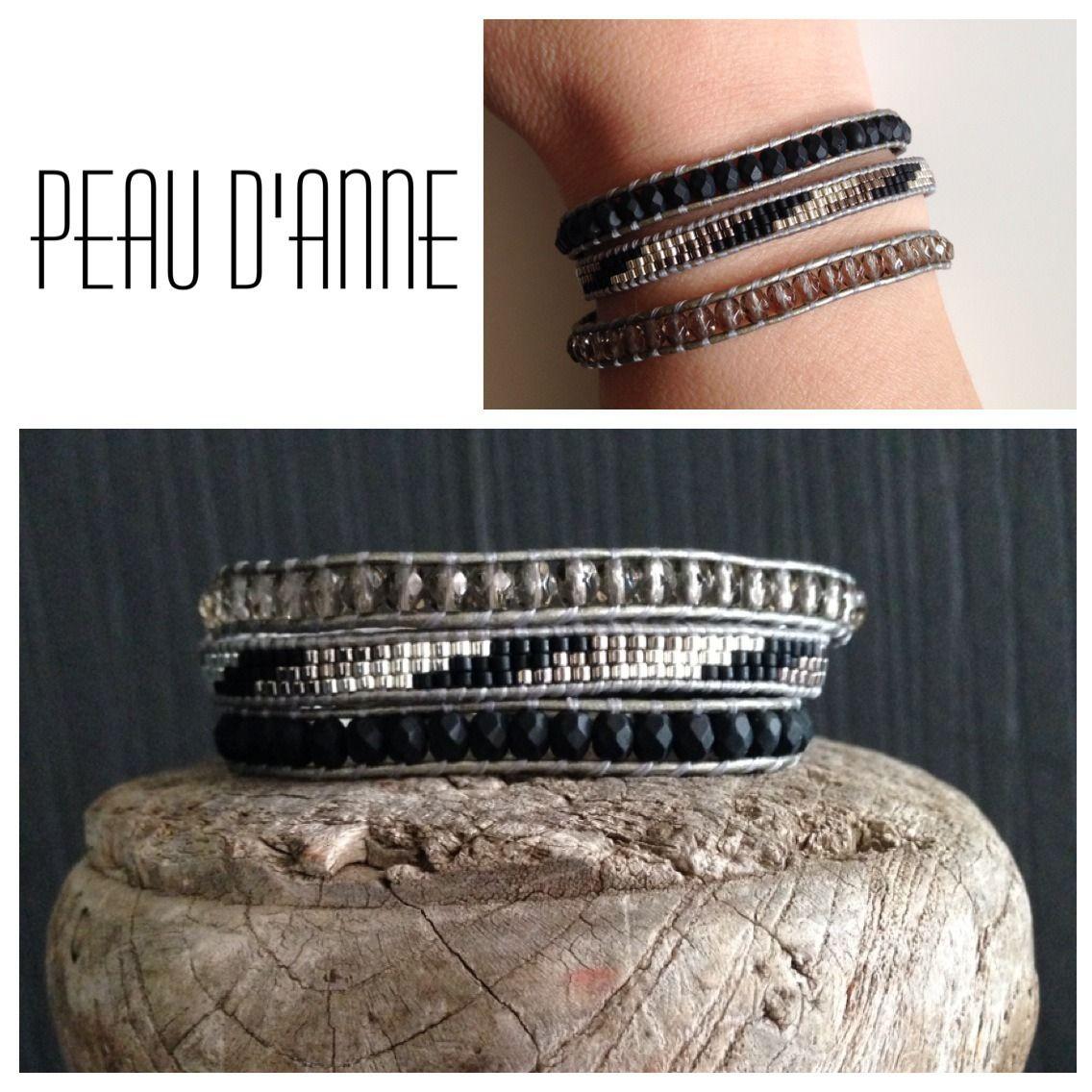 bracelet wrap 3 tours perles Miyuki et facettes de Boheme  Bracelet par  peaud,anne