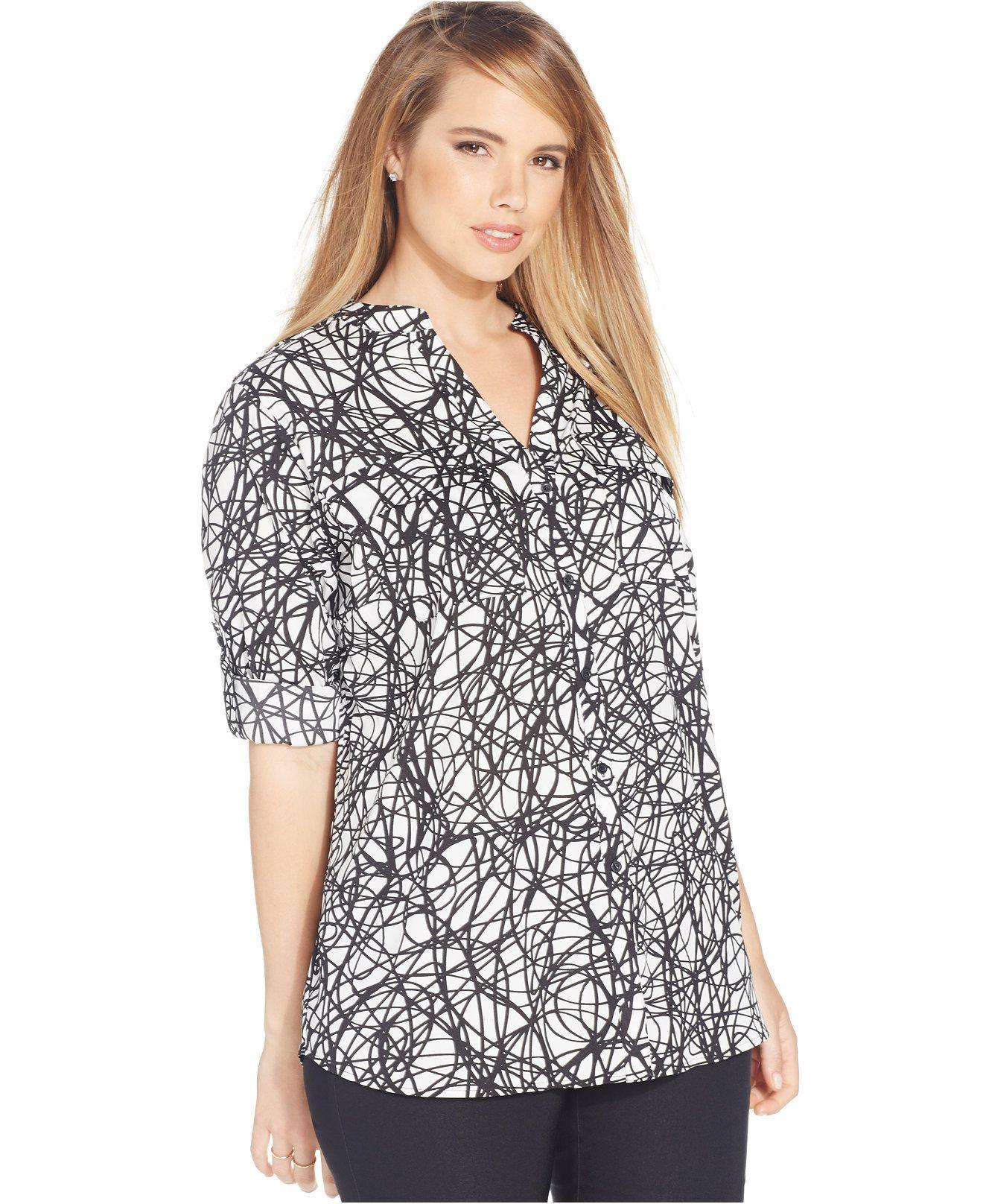 Calvin klein plus size rolltab blouse tops plus sizes