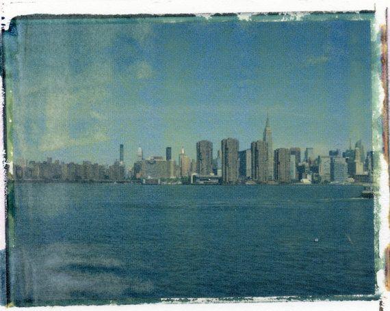 New York Skyline - Polaroid Transfer (8x10) - $75.00 via Etsy