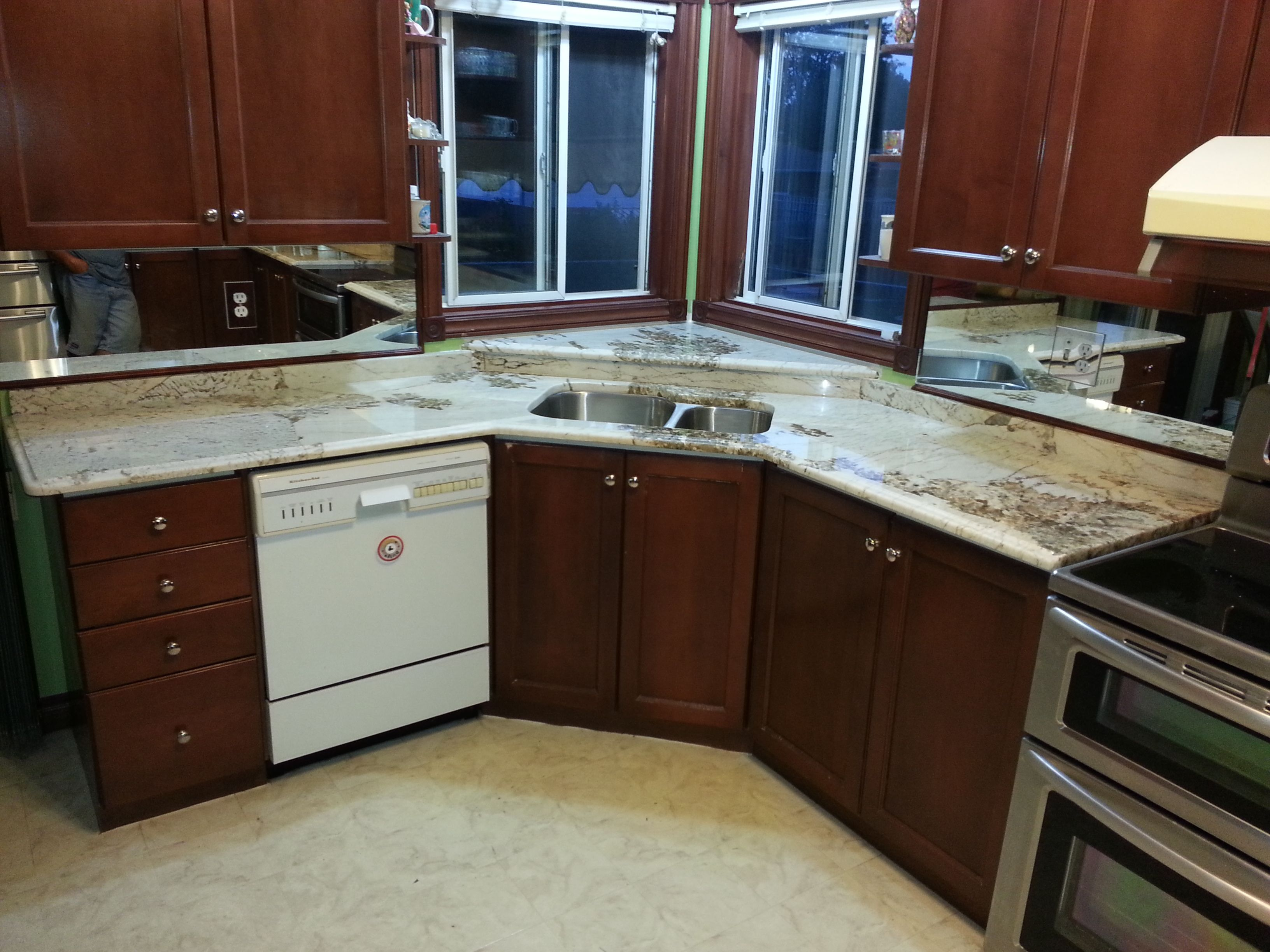 Granite Countertops With Corner Sink And Granite Window Ledge Kitchen Corner Sink Kitchen Cabinets