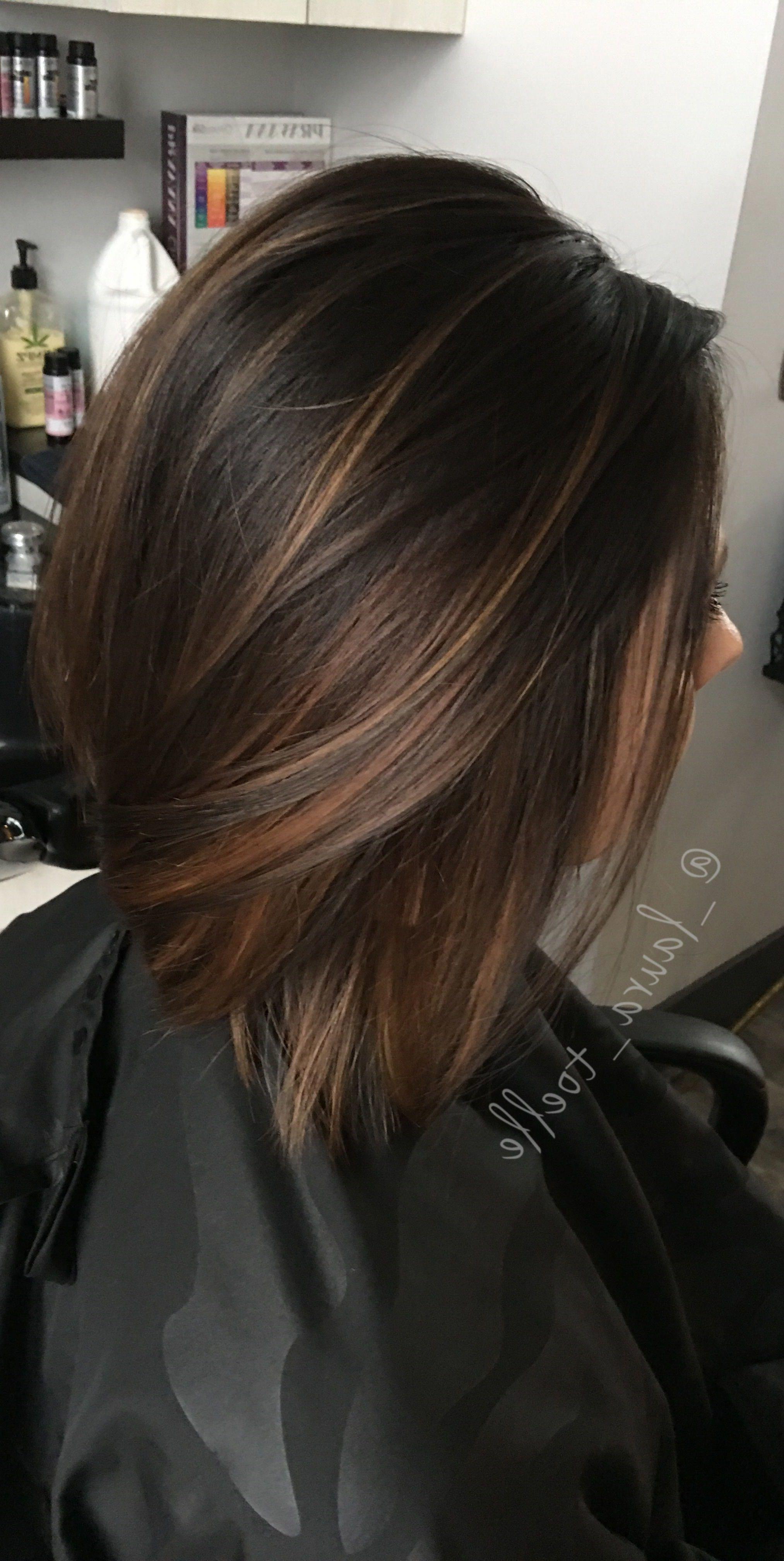 28 Incredible Examples Of Caramel Balayage On Short Dark Brown Hair Caramel Balayage On Short Dark B Brown Hair Balayage Short Hair Balayage Brown Blonde Hair