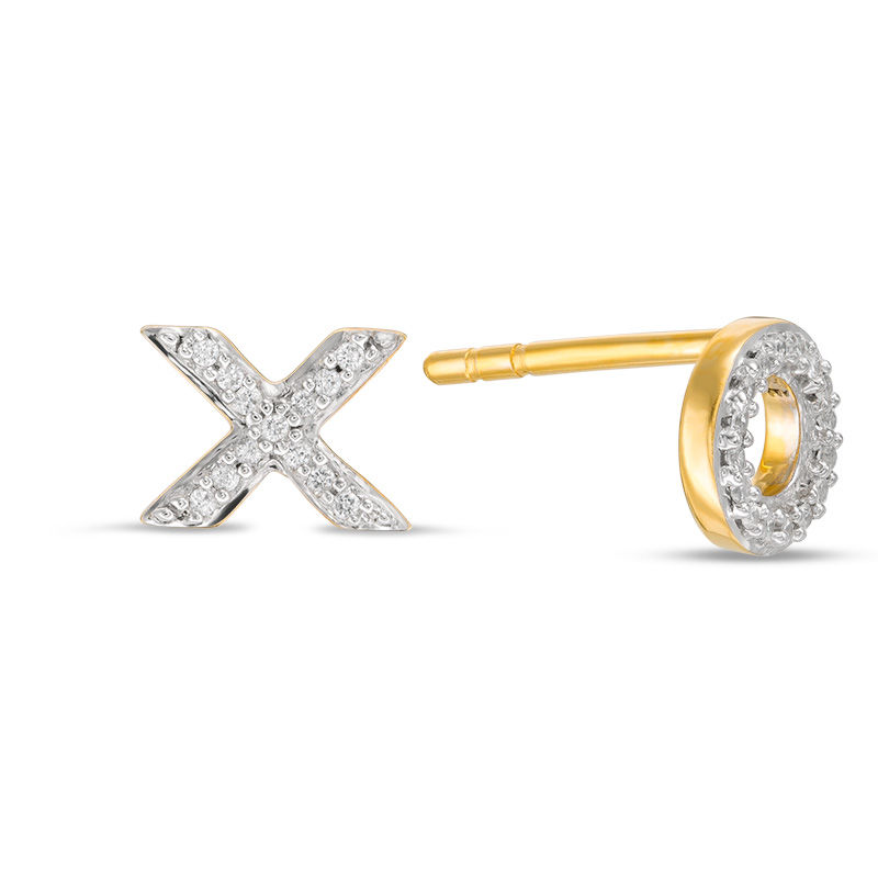 1 20 Ct T W Diamond X And O Mismatch Stud Earrings In 10k Gold In 2020 Earrings Silver Hoop Earrings Stud Earrings