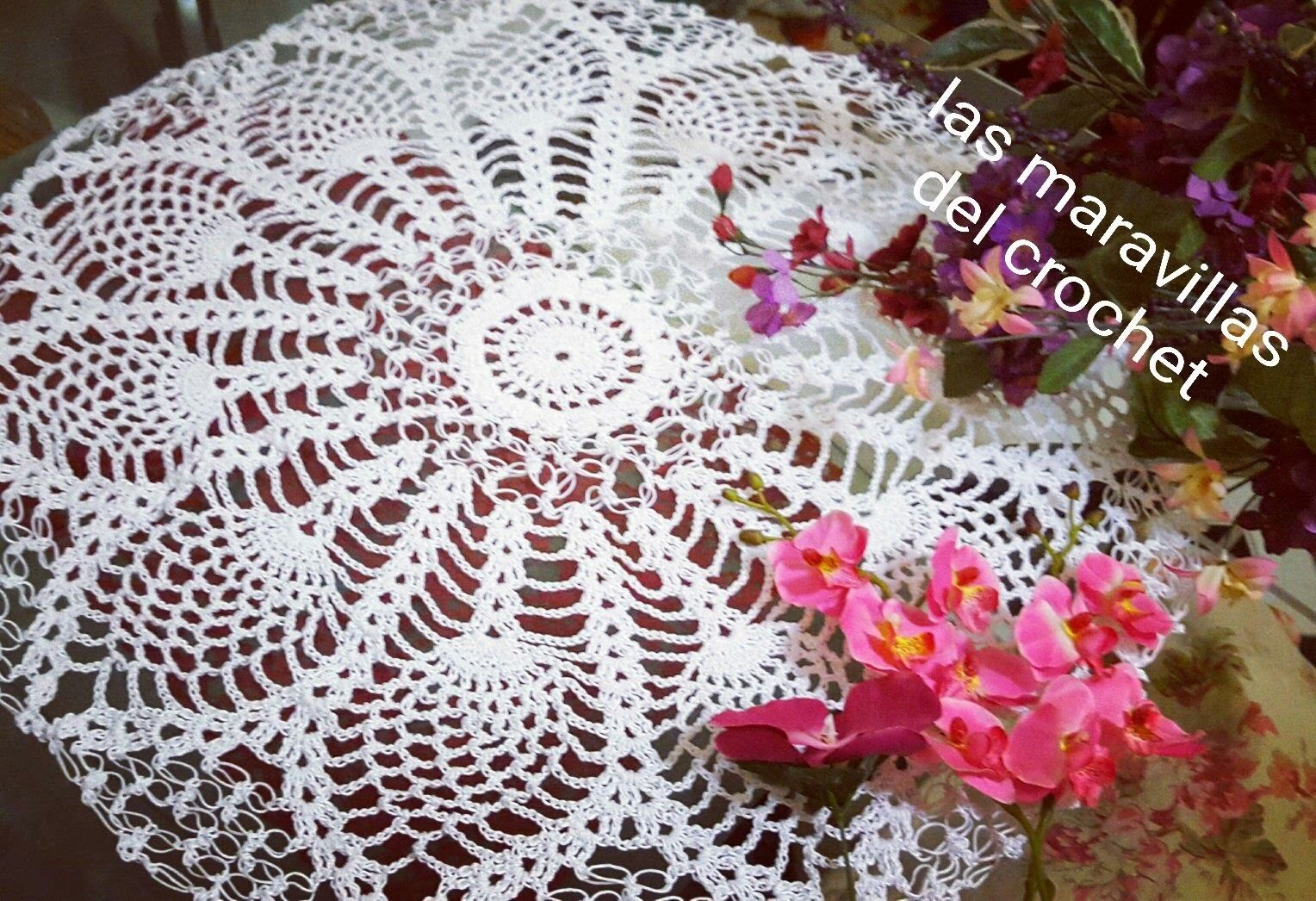 Tapete redondo de piñas en crochet paso a paso #1