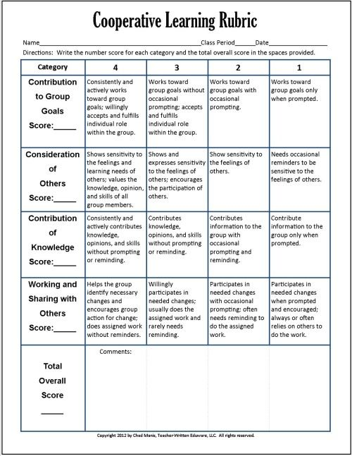 Cooperative Learning 7 Free PDF Assessment Instruments PBL - peer evaluation form