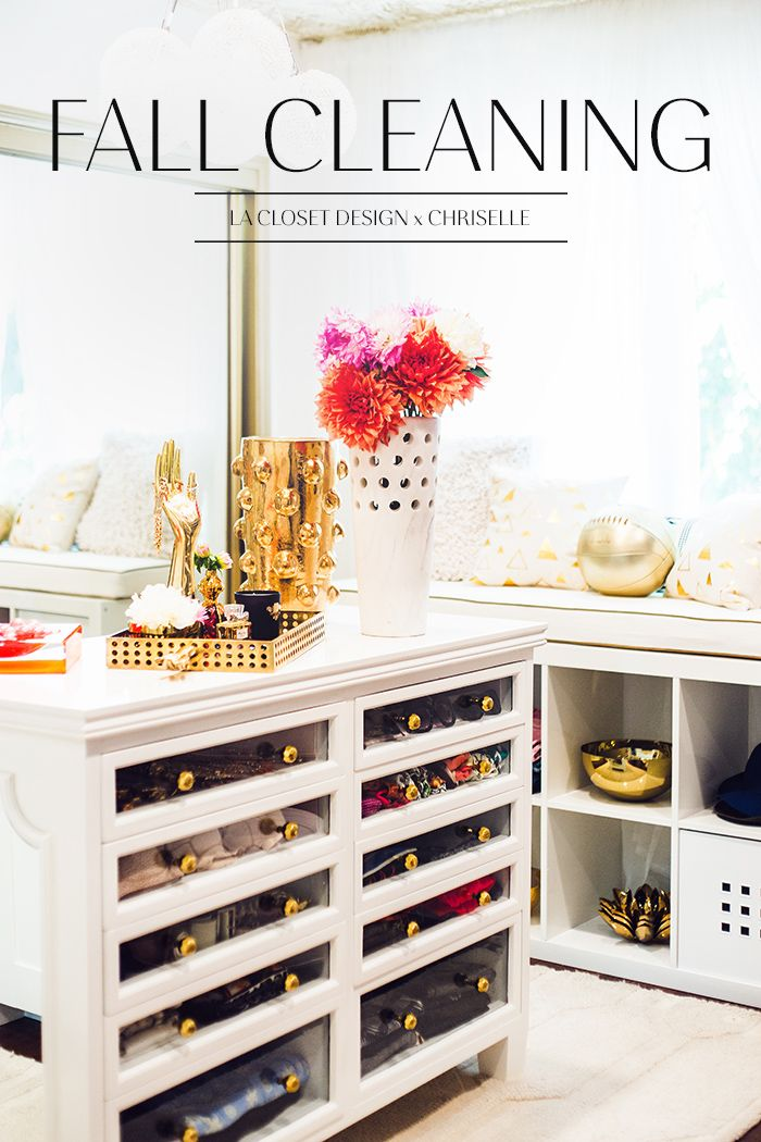 Chriselle Lim's closet. I really like this dresser with the shallow drawers in the middle of the closet. The drawers pull far out and you can see all your sunglasses in one drawer, hats in another, ect...