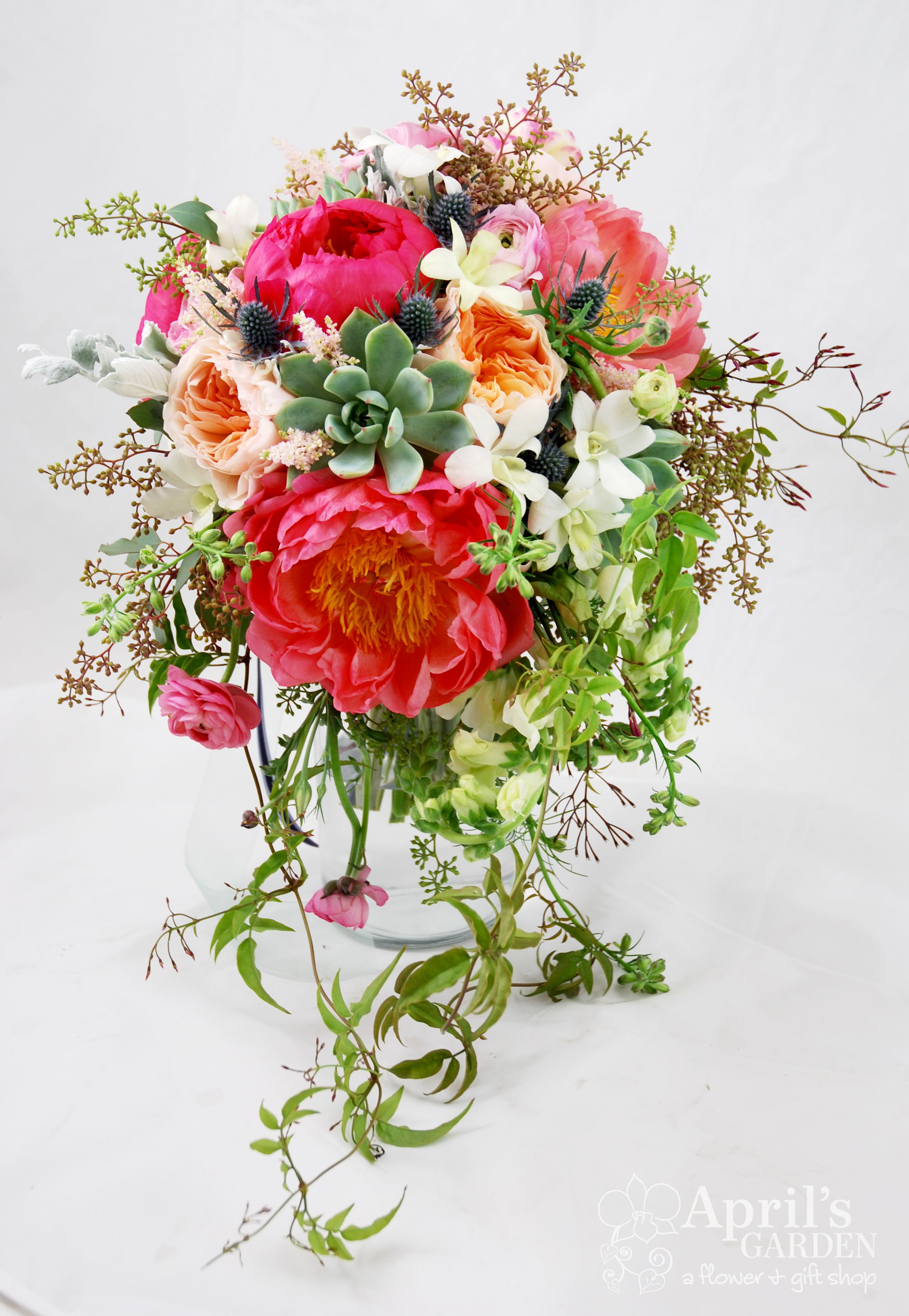 Cascade style bridal bouquet with peonied garden roses succulents cascade style bridal bouquet with peonied garden roses succulents jasmine vine and snapdragons flowers by aprils garden durangoflorist izmirmasajfo