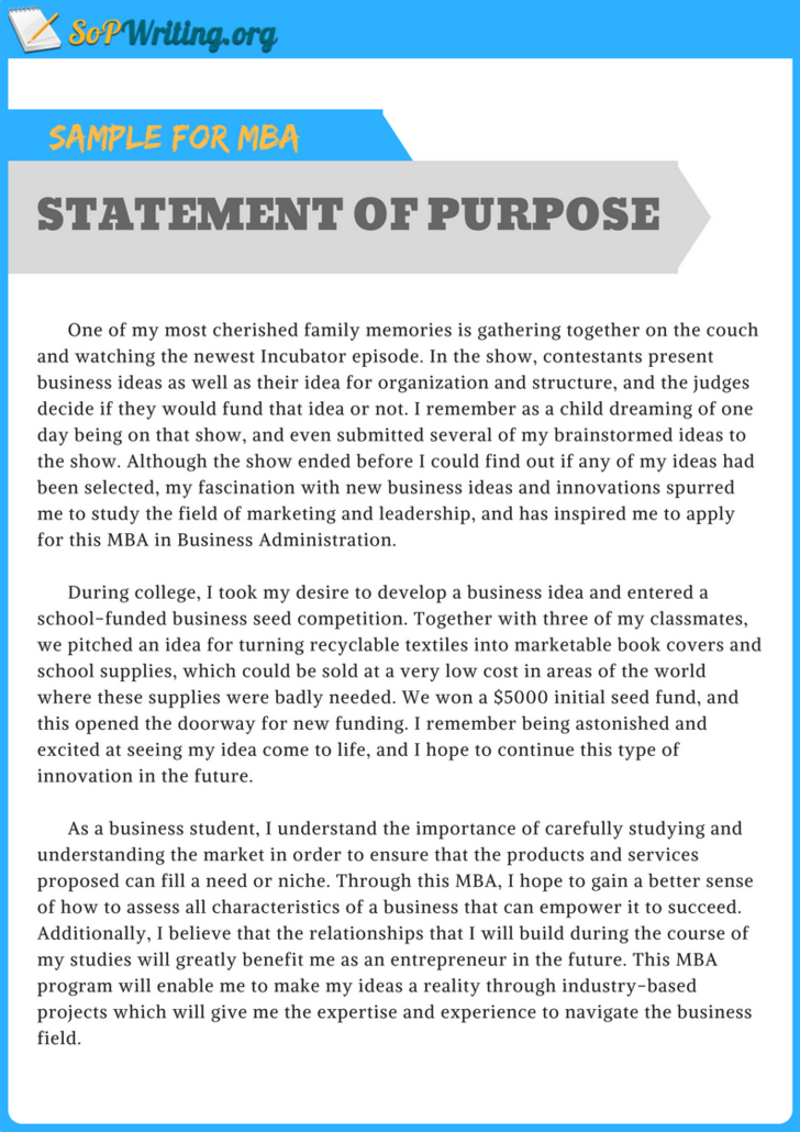 Pin by SOP Samples on Statement of Purpose Sample for MBA  Purpose