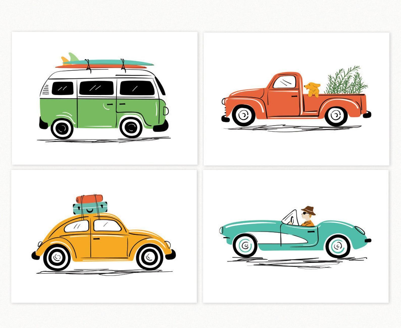 Vintage Car Art prints Art Print Set of 4 car illustrations | Etsy