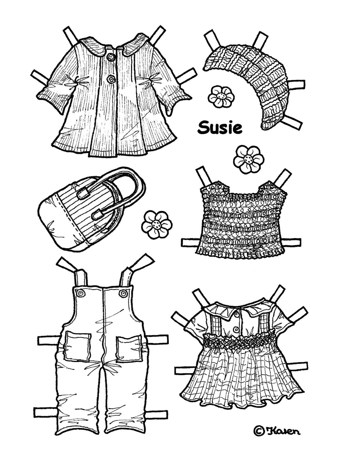 SUSIE from Karen`s Paper Dolls to Print and Colour 2 of 5