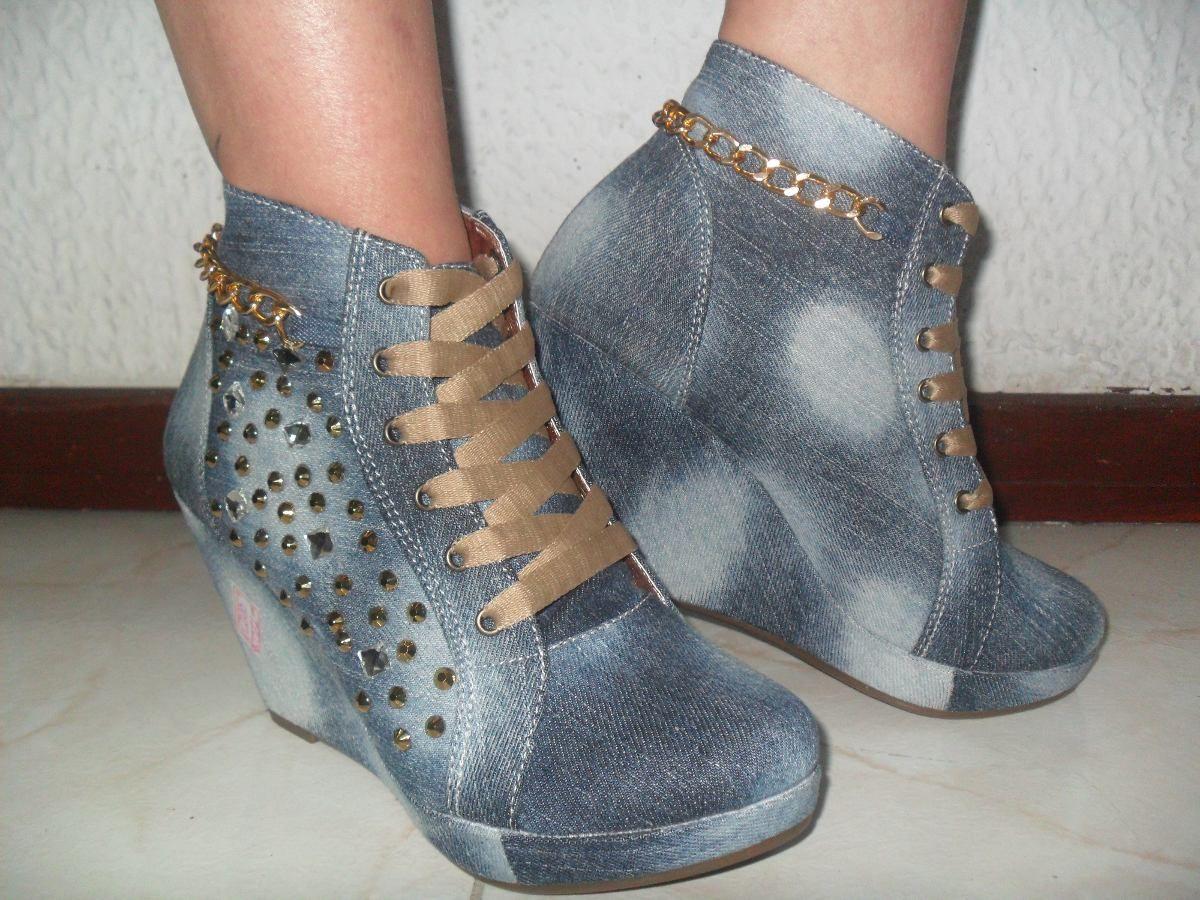 7261354e53a2e Zapatos Tenis Jeans Plataforma Interna Con Piedreria Bogota -   84.900 en  MercadoLibre