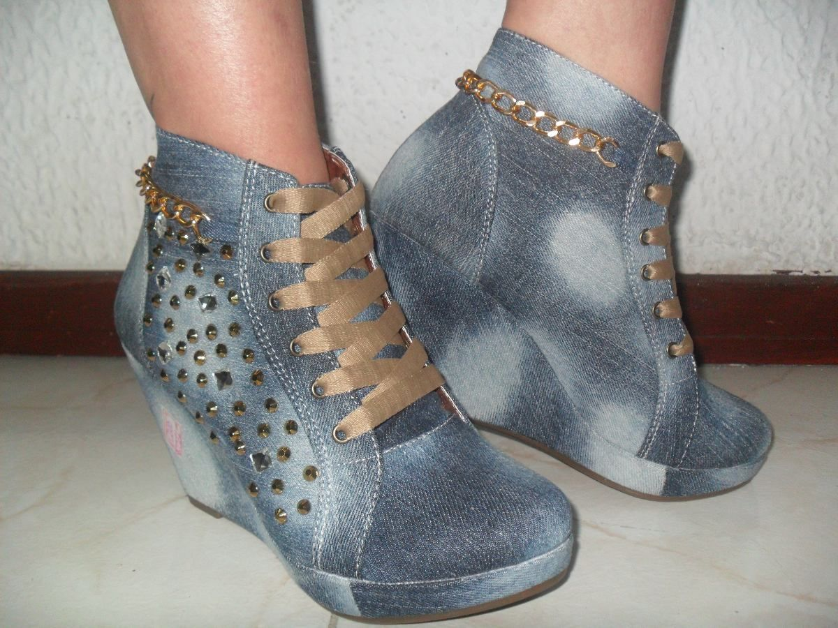 d9e4933f95a Zapatos Tenis Jeans Plataforma Interna Con Piedreria Bogota -   84.900 en  MercadoLibre
