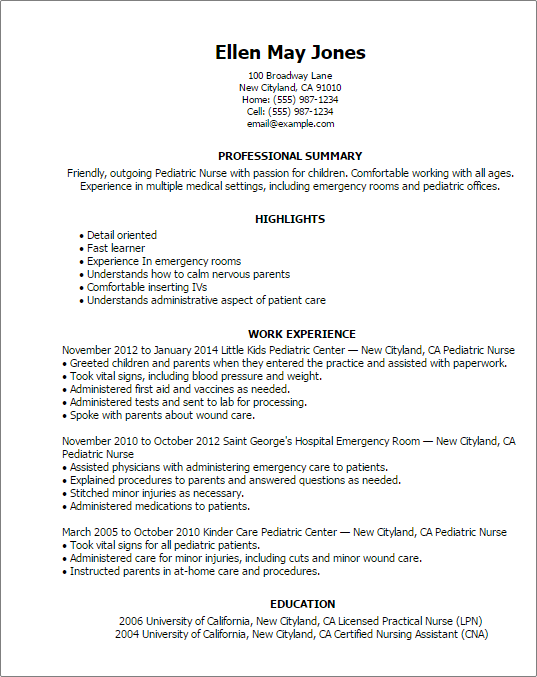 emergency nurse resume sample professional pediatric nurse templates to showcase your talent - Sample Er Nurse Resume