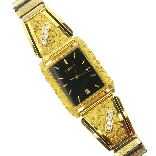 gold nuggett watches with 14k Yellow Gold side panels featuring