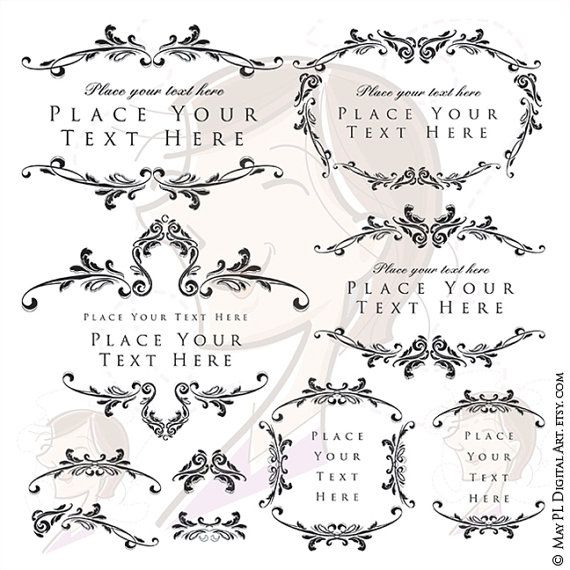 Digital Stamp Design Flourish Rose Border Corner Clip Art: Digital Download Frames Flourish Foliage Border Rococo