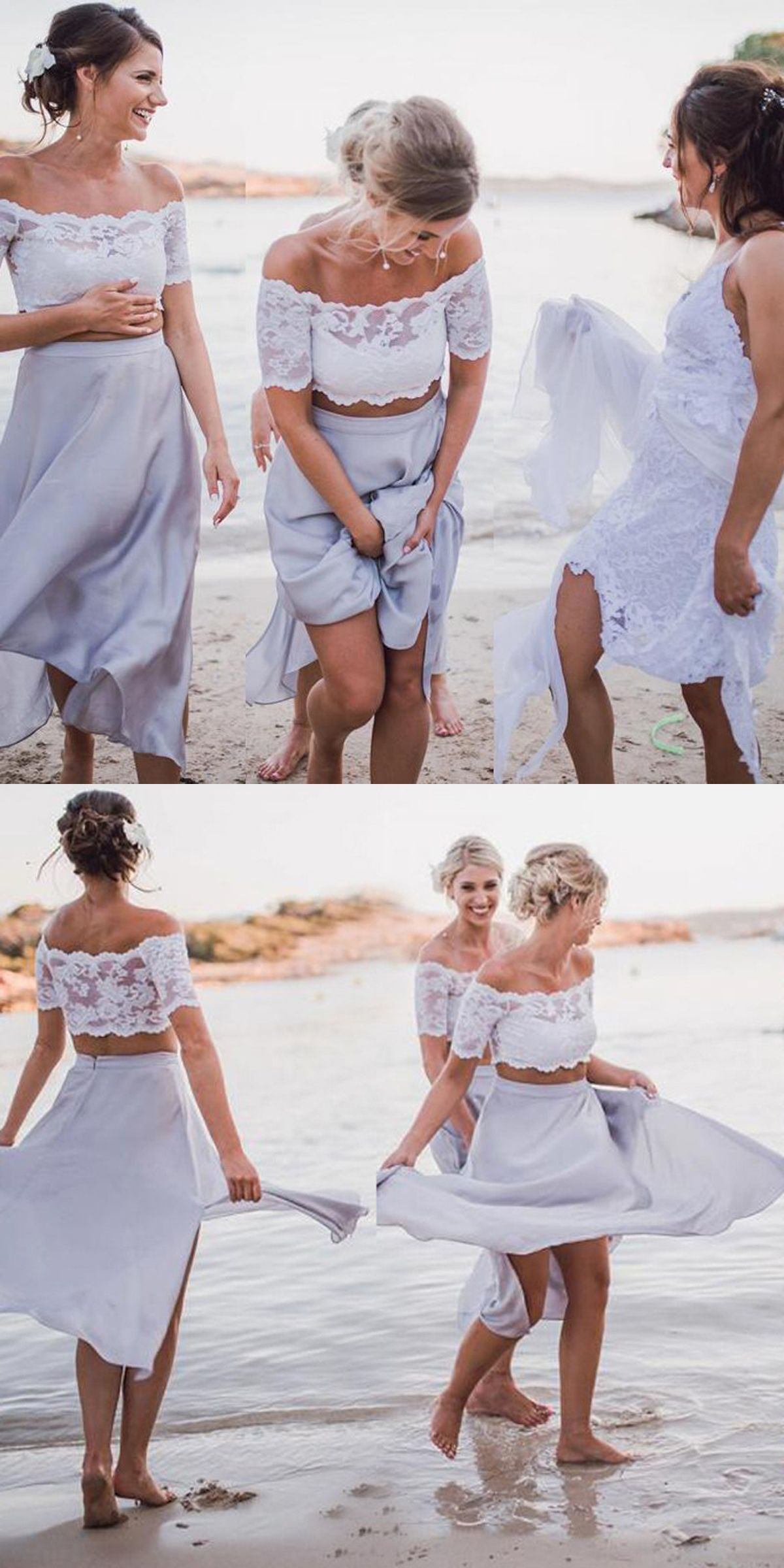 Two piece off the shoulder short light grey chiffon bridesmaid two piece off the shoulder short light grey chiffon bridesmaid dress with lace ombrellifo Image collections