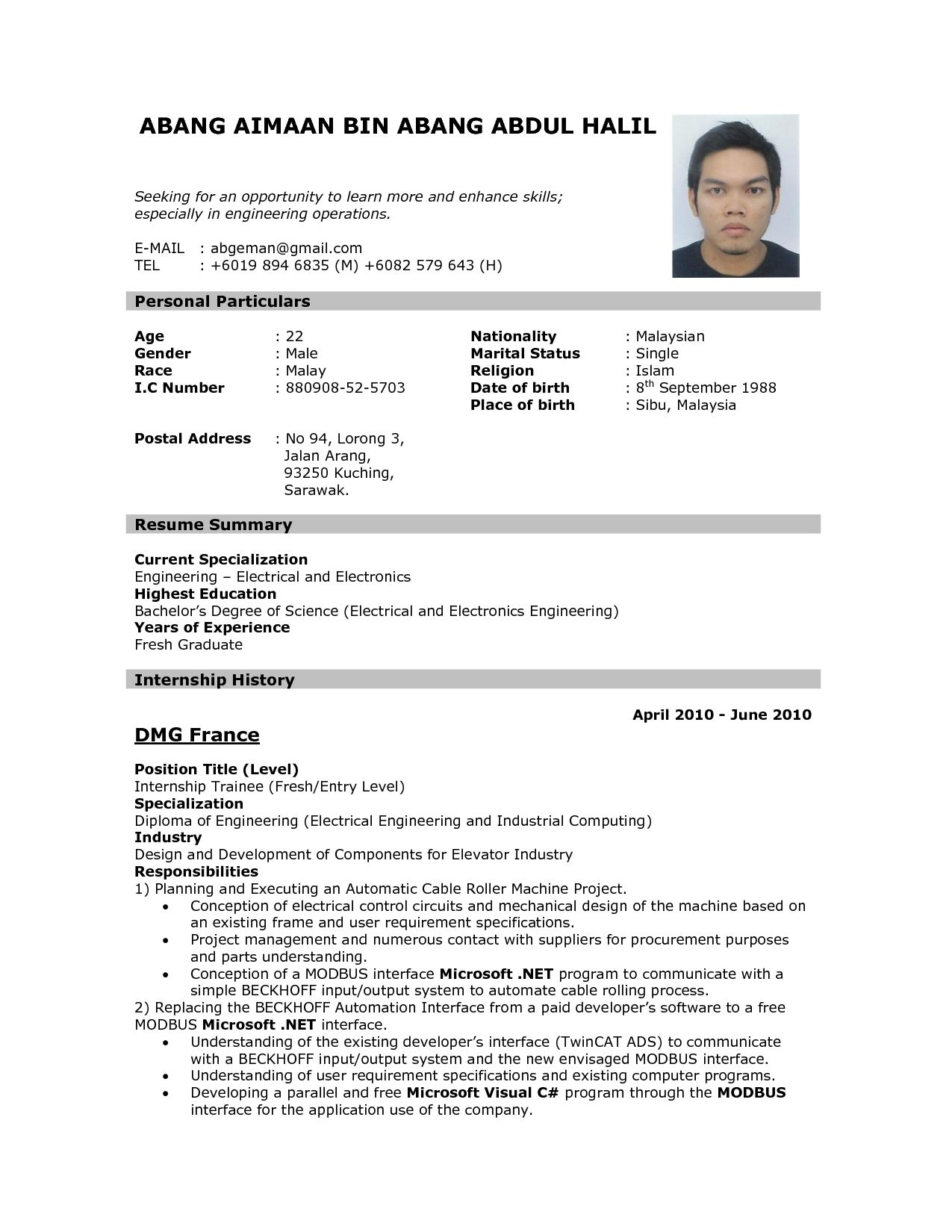 Sample Of Simple Resume Format Format Of Resume For Job Application To Download Data