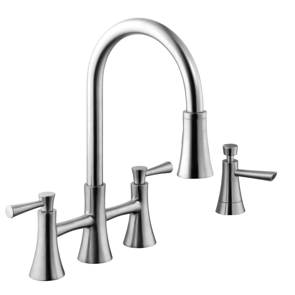 Schon 925 Series 2 Handle Pull Down Sprayer Bridge Kitchen Faucet With Soap Dispenser In Stainless Steel 67065 0108d2 Faucet Kitchen Faucets Pull Down Best Kitchen Faucets Two handle pull down kitchen faucet