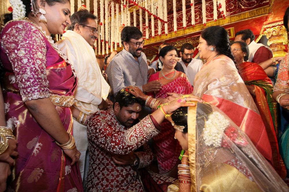 Mega couple at kodi rama Krishna daughter's marriage in