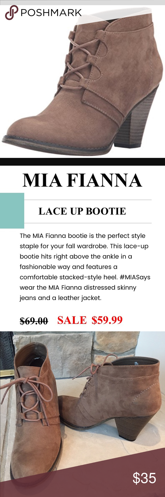 MIA Fianna Ankle Boot Gorgeous, light brown, lace-up ankle boot. These are in excellent, like new condition and barely worn. MIA Shoes Lace Up Boots