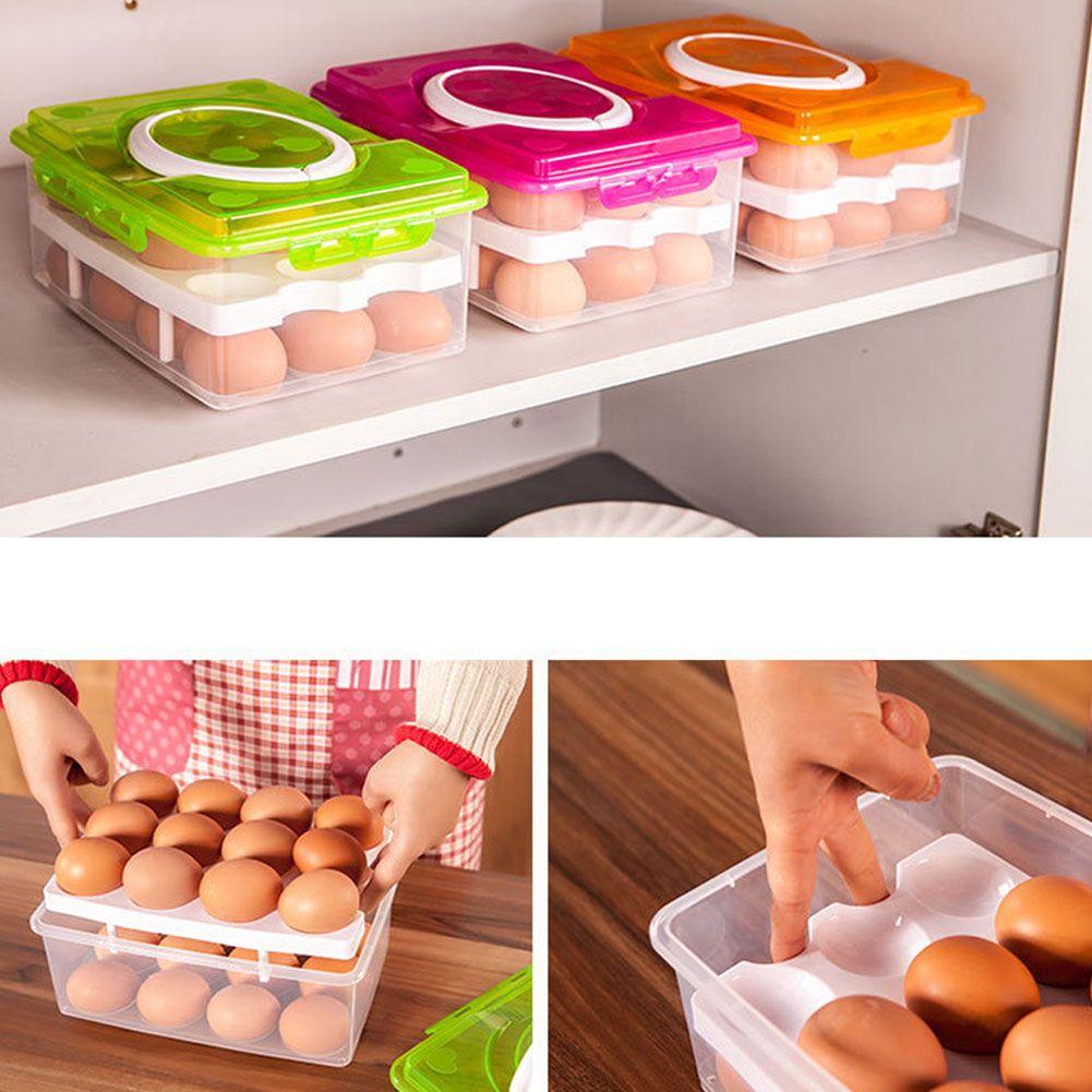24 Eggs Refrigerator Egg Storage Box Holder Food Container Plastic Holder New US