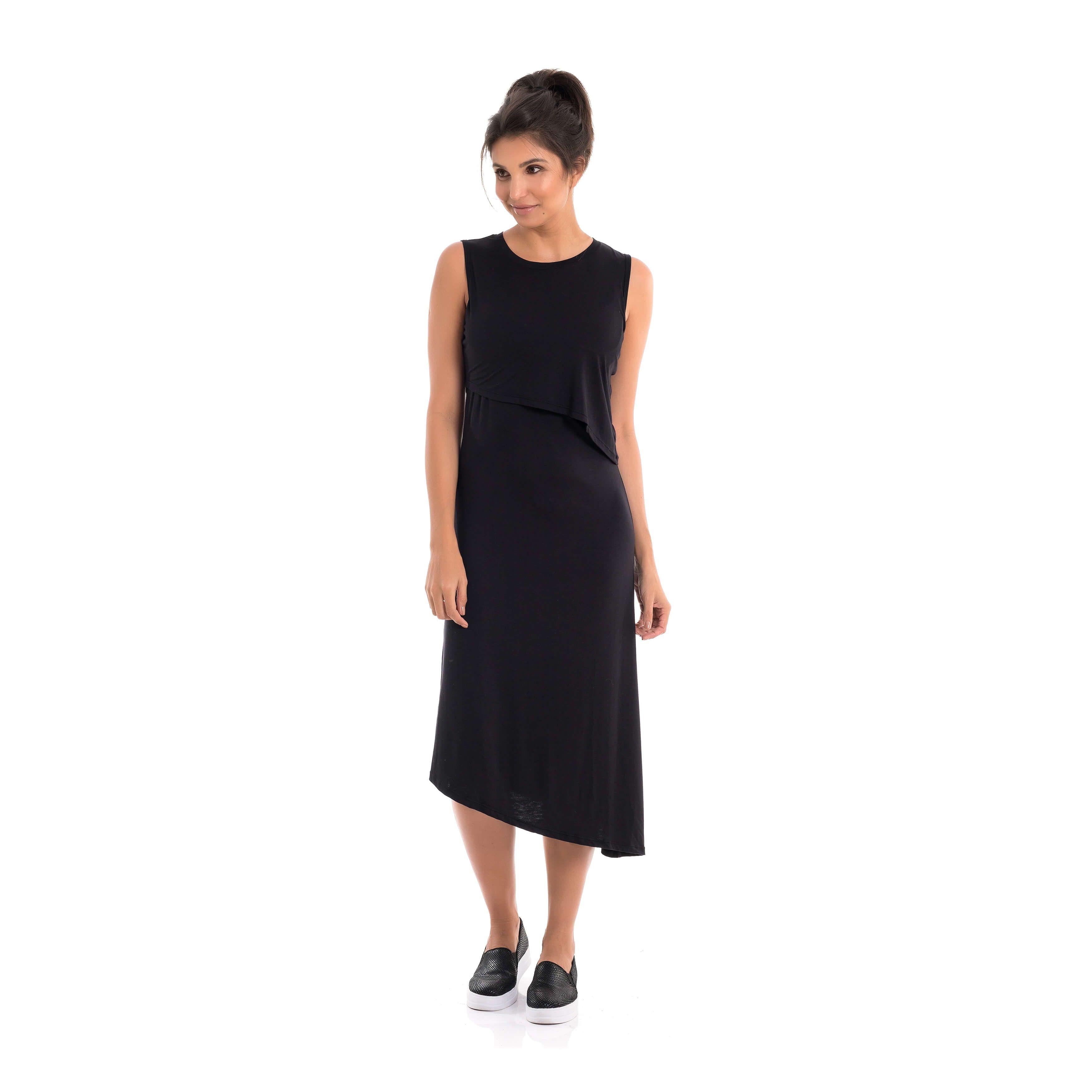 53ee11eb4 Vestido Amamentação Diana - Preto - Loja Agora Sou Mãe