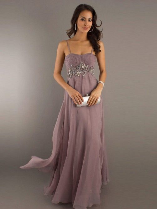 long prom dresses with straps | Empire Spaghetti Strap Beaded ...