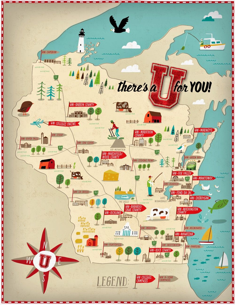 Campus Locator Map For University Of Wisconsin Map Illustration